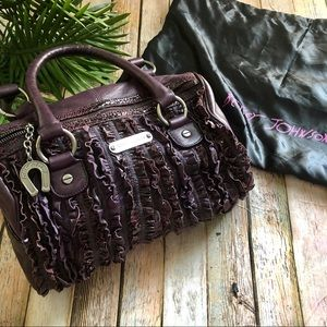 Betsey Johnson  deep purple ruffle satchel
